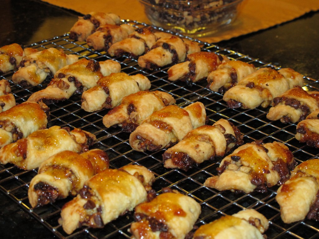 Rugelach cooling on rack out of the oven