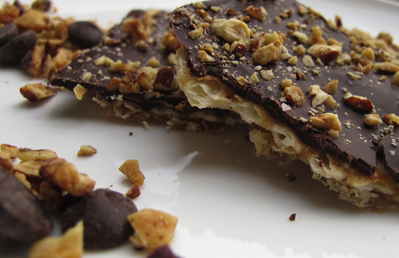 Chocolate Covered Matzo With Toasted Nuts And Sea Salt